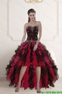 High Low Sweetheart Multi Color Cheap Prom Dresses with Ruffles and Beading