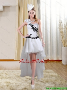 White High Low One Shoulder Cheap Prom Dresses with Black Embroidery