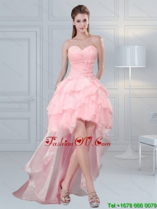 2015 Cute Baby Pink Sweetheart Beading Prom Dresses with Ruffled Layers