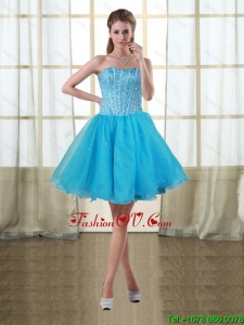 2015 Puffy Baby Blue Sweetheart Short Prom Dresses with Beading