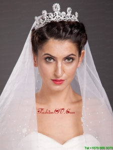 Fashionable Alloy Tiara With Floral Shaped Beading Accents