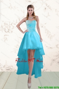 Fashionable Baby Blue Prom Gown with Beading and Ruffles 2015