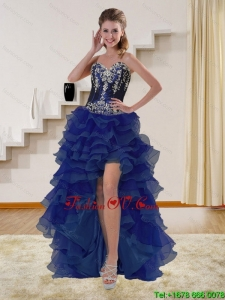 High Low Navy Blue Sweetheart Prom Dresses with Beading and Embroidery