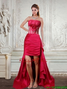 High Low Strapless Coral Red Prom Dresses with Hand Made Flower