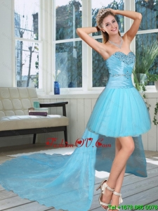 High Low Sweetheart Beaded Quinceanera Dress in Baby Blue 2015