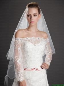 Inspired Layer Ribbon Edge Organza Bridal Veil