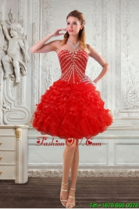 New Style Sweetheart Prom Dresses with Beading and Ruffles 2015