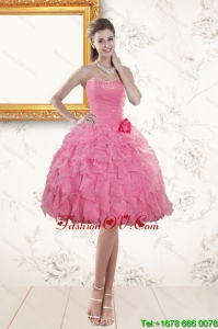 Perfect Sweetheart Rose Pink 2015 Prom Dresses with Beading and Ruffles