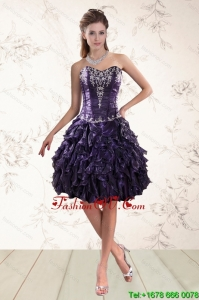 Pretty Sweetheart Ruffles and Embroidery Prom Dresses for 2015