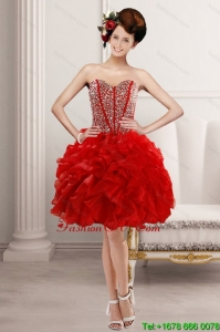 2015 Elegant Sweetheart Prom with Beading and Ruffles