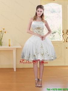 2015 Fashionable White Strapless Prom Dress with Embroidery