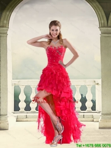 Coral Red Ball Gown Strapless Prom Dresses with Ruffles and Beading