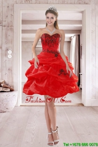 Elegant Sweetheart Red 2015 Prom Dresses with Embroidery and Ruffles