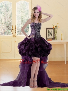 High Low Burgundy Prom Dress with Ruffled Layers and Beading