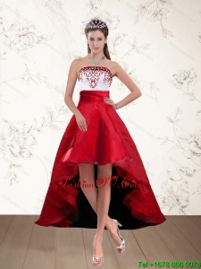 Pretty White And Wine Red High Low Strapless Prom Dresses with Embroidery