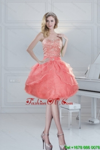 2015 Pretty Puffy Sweetheart Watermelon Prom Dresses with Beading