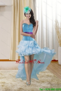 High Low Sweetheart Prom Gown with Ruffles and Beading