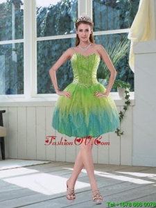 Romantic Beading Multi Color Sweetheart Prom Dress with Appliques