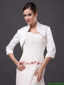 1/2 Sleeves Classical High Neck Satin Jacket For Wedding and Other Occasion