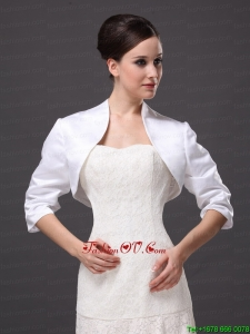 Custom Made White High Neck Jacket With 1/2 Sleeves For Wedding