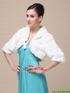 Faux Fur Special Occasion / Wedding Jacket In Ivory With 1/2 Length Sleeves