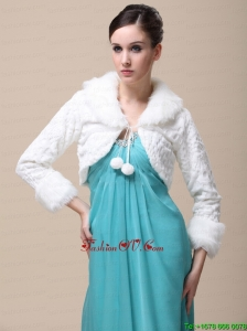 Faux Fur Special Occasion / Wedding Jacket With Long Sleeves and Fold Over Collar