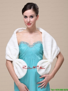 Faux Fur Special Occasion / Wedding Shawl In Ivory With V Neck