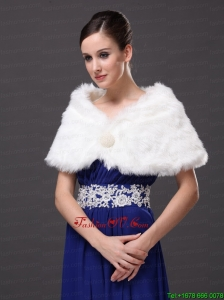 Gorgeous Rabbit Fur Special Occasion / Wedding Shawl In Ivory With V Neck