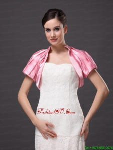 High Neck Satin Rose Pink Short Sleeves Jacket For Other Formal Occasions With Ruch Decorate