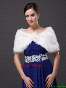 High Quality Faux Fur Special Occasion / Wedding Shawl In Ivory With V Neck