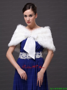 High Quality Rabbit Fur Special Occasion / Wedding Shawl In Ivory With V Neck