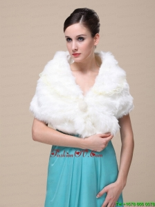 Top Selling Faux Fur Wedding Shawl With Lace V Neck