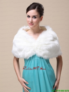 Unique Rabbit Fur Special Occasion / Wedding Shawl In Ivory With V Neck