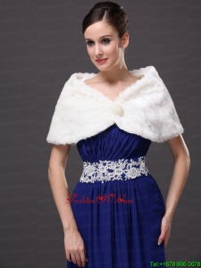 Beautiful Faux Fur Wedding V Neck Party / Prom / Cocktail Wraps White
