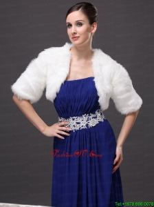 Exquisite Faux Fur V Neck Half Sleeves Wedding Party and Prom White Jacket