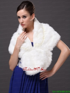 Faux Fur Fashionable V Neck Wedding Party and Prom Shawls White