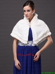 Faux Fur High Neck White Wedding Party Wrap For Winter