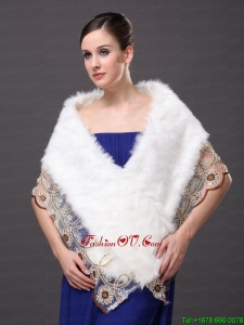 Lace V Neck Faux Fur Stylish White Formal Occasions Wraps / Shawls