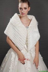 Luxurious Button Faux Fur Fold Over Collar Wrap / Shawl