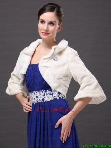 White Faux Fur Open Front Fold Over Collar Prom Jacket