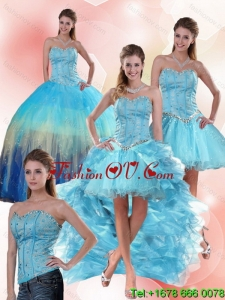 2015 Multi Color Sweetheart Quinceanera Dress with Ruffles and Beading