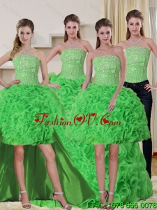2015 Spring Green Strapless Quinceanera Dress with Beading and Ruffles