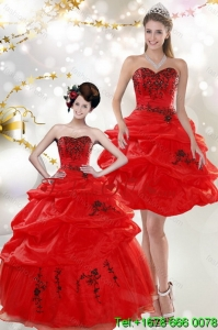 Beautiful Strapless Red Quinceanera Dresses with Appliques and Pick Ups for 2015