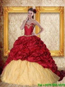 Brand New 2015 Wine Red Brush Train Quinceanera Dress with Sweetheart