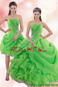 Elegant 2015 Pick Ups and Beading Quince Gowns in Spring Green