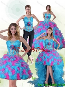 Beautiful and Classic Strapless Appliques and Ruffles Multi Color Quinceanera Dress