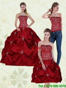 Detachable and Designer Wine Red Strapless Quinceanera Gown with Embroidery