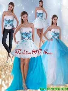 2015 Designer Strapless Multi Color Quinceanera Dress with Appliques and Beading