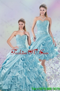 2015 Designer Sweetheart Ball Gown Quinceanera Dresses with Beading and Ruffled Layers