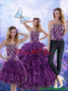 Fantastic and Designer Purple Strapless Quince Dresses with Appliques and Ruffles for 2015